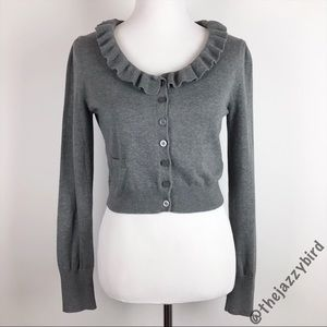 Esprit Grey Cotton Knit Ruffle Cropped Cardigan